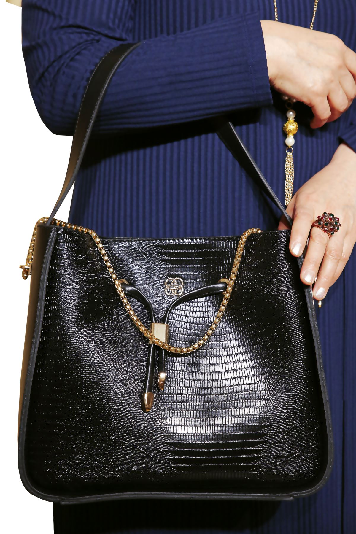 Kadın Siyah Çanta Askılı Zincir Detay