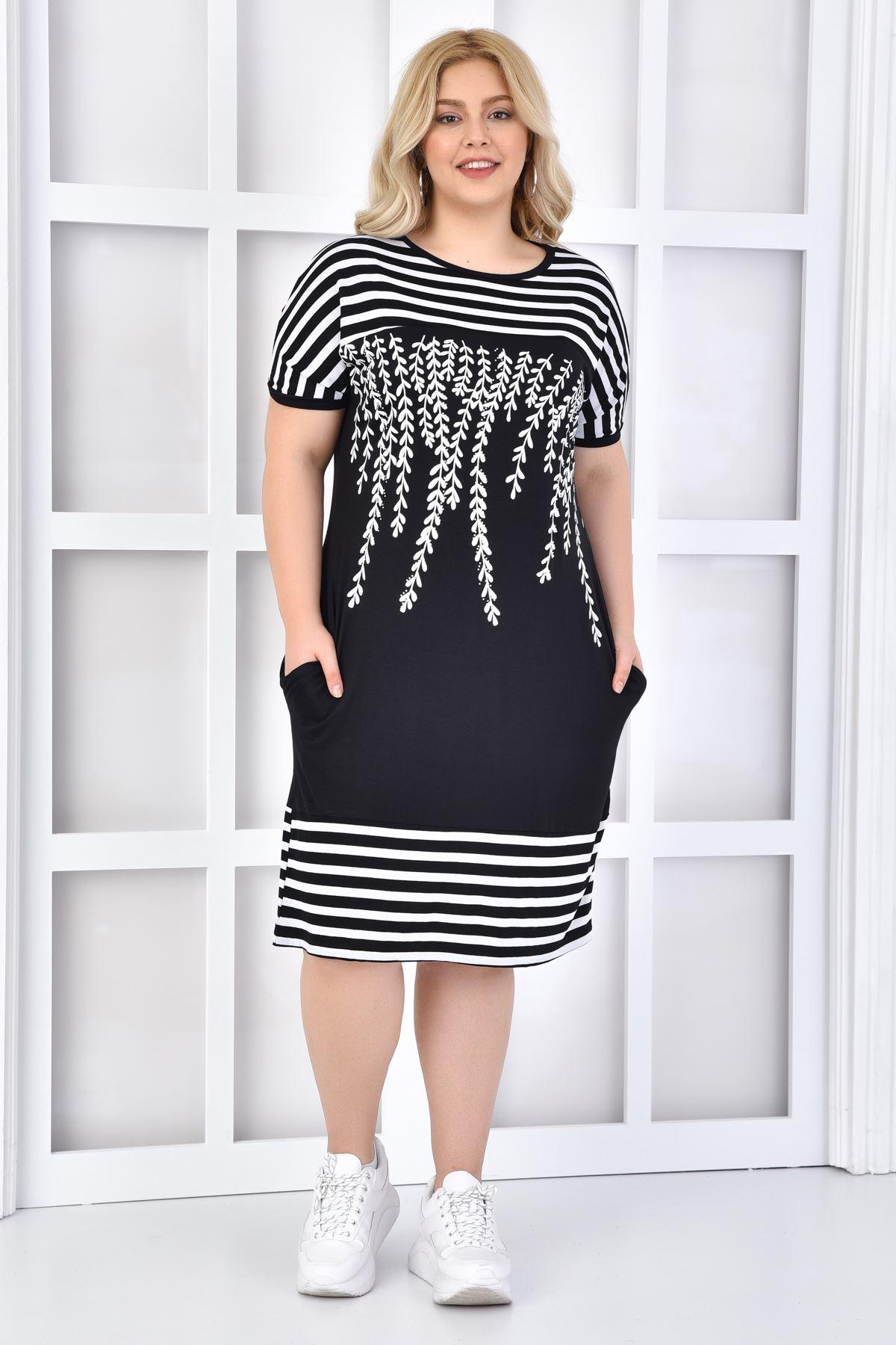 Kadın Siyah Büyük Beden Elbise Taşlı Çizgili