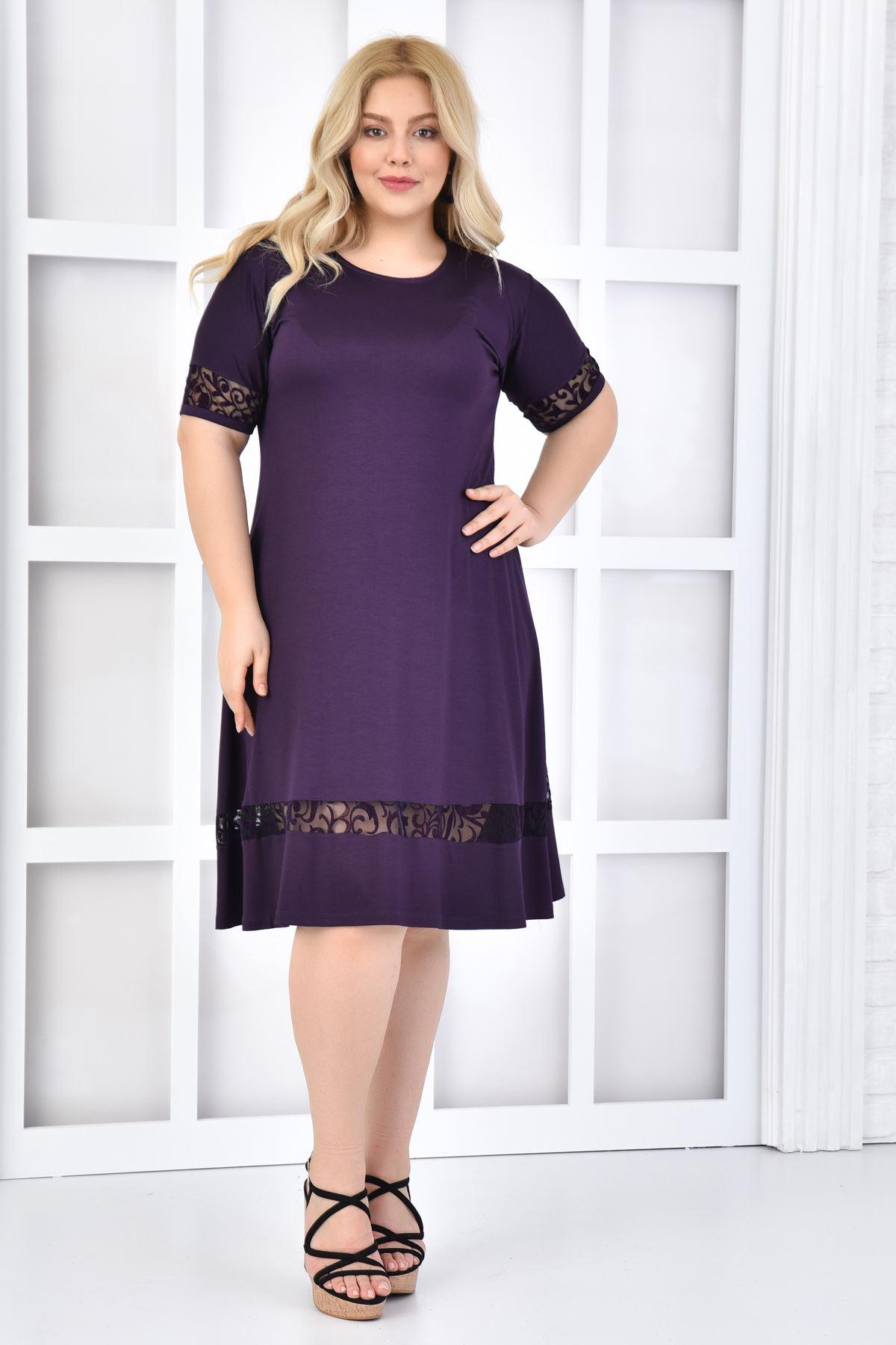 Kadın Mor Büyük Beden Elbise Flok Baskı