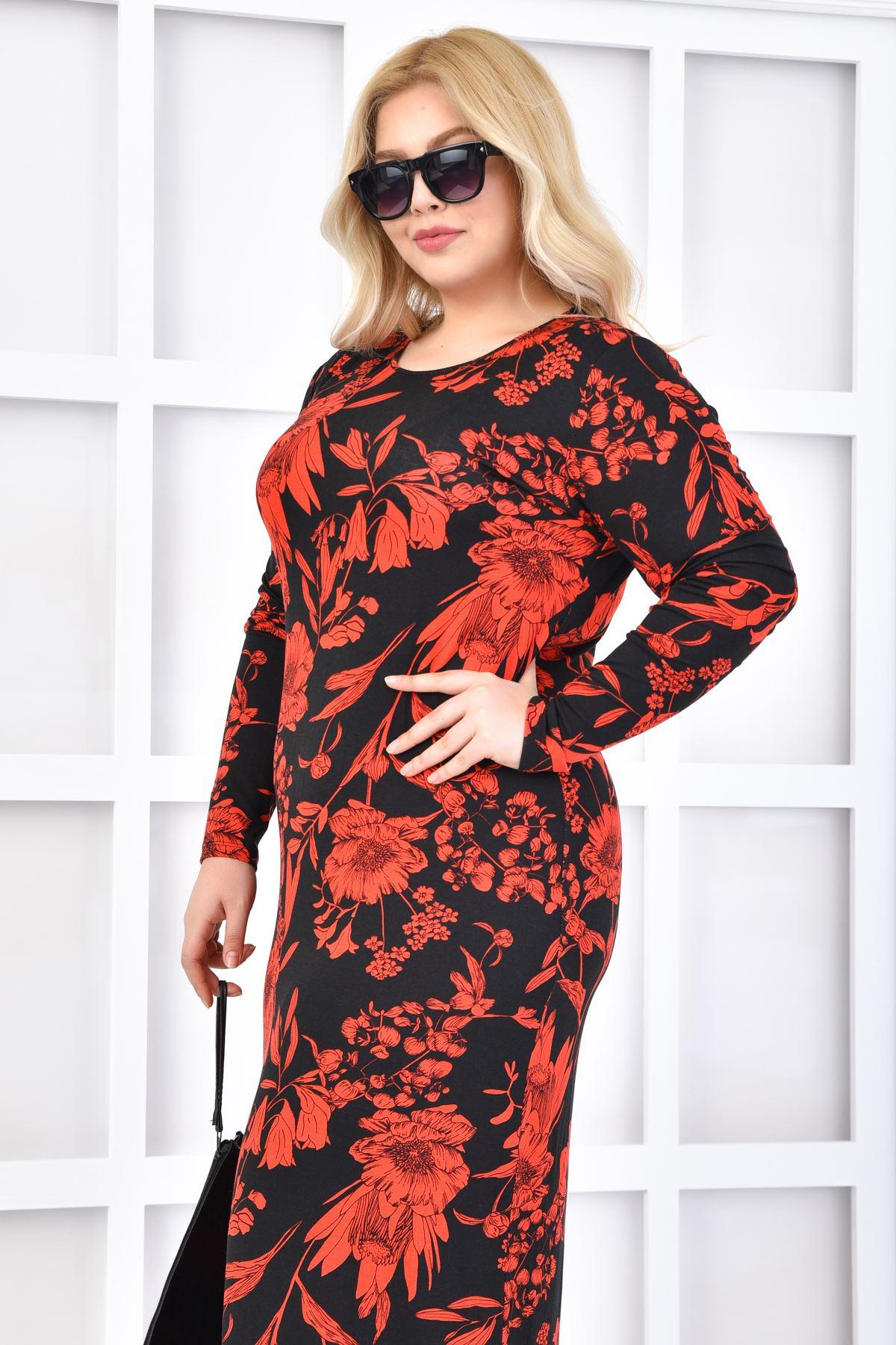 Kadın Siyah Büyük Beden Elbise Likra'lı Çiçeklii Desen