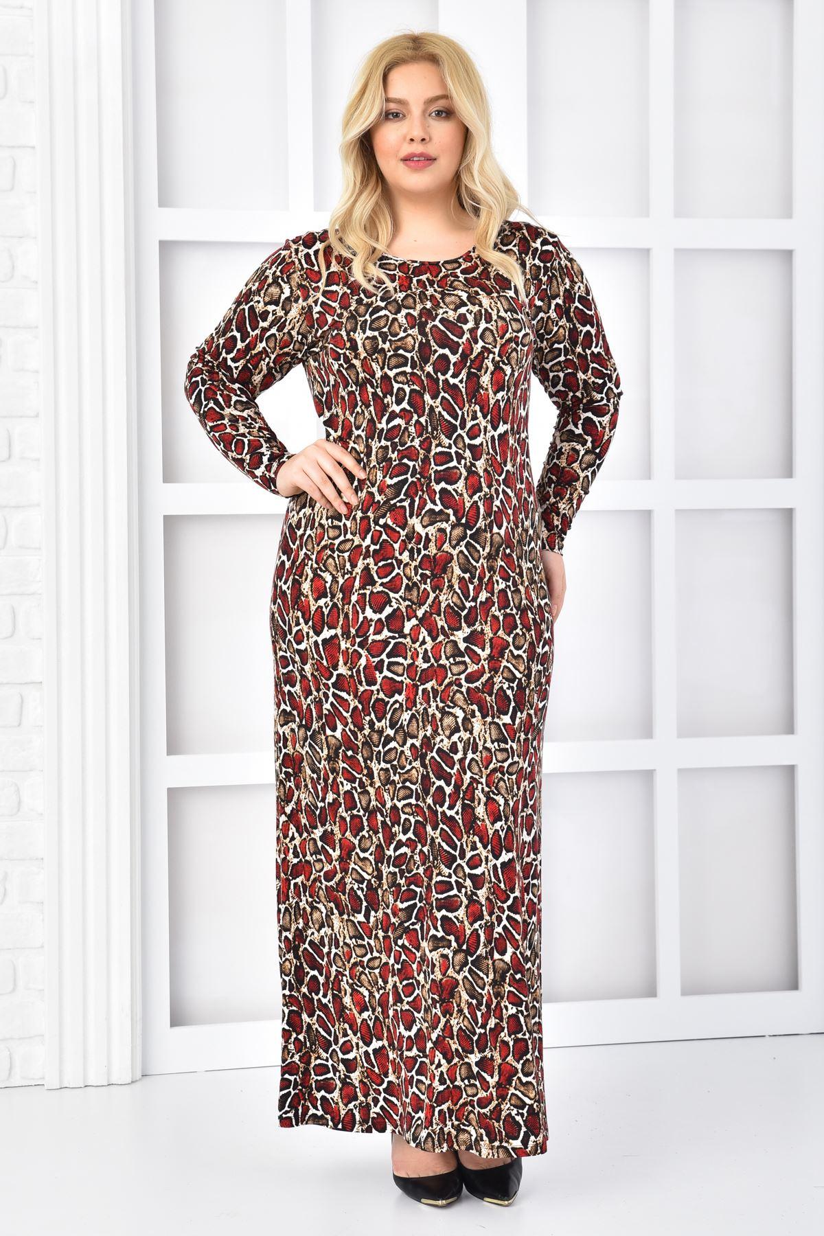 Fupe Büyük Beden Uzun Elbise Siyah Kadın Yılan Derisi Desen