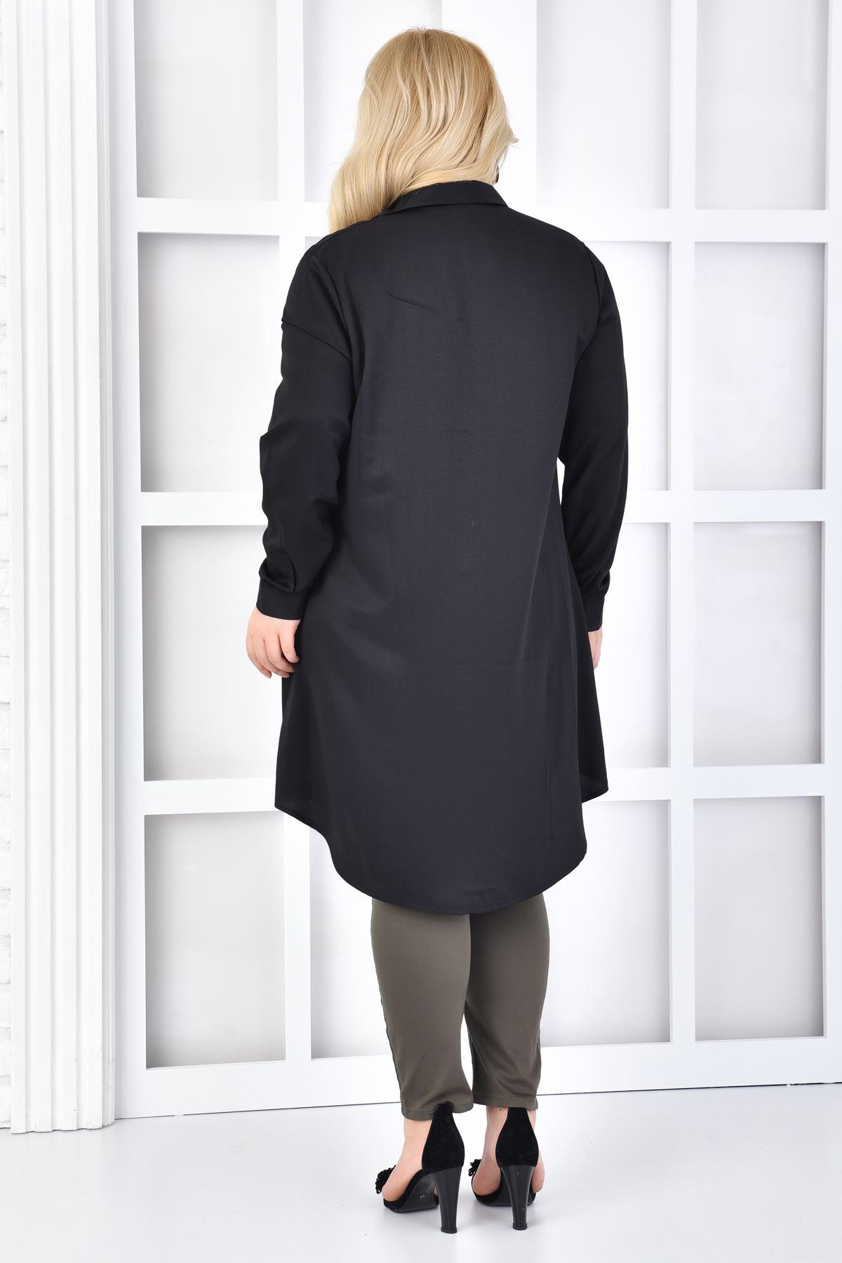 Kadın Siyah Büyük Beden Tunik Gömlek Düz