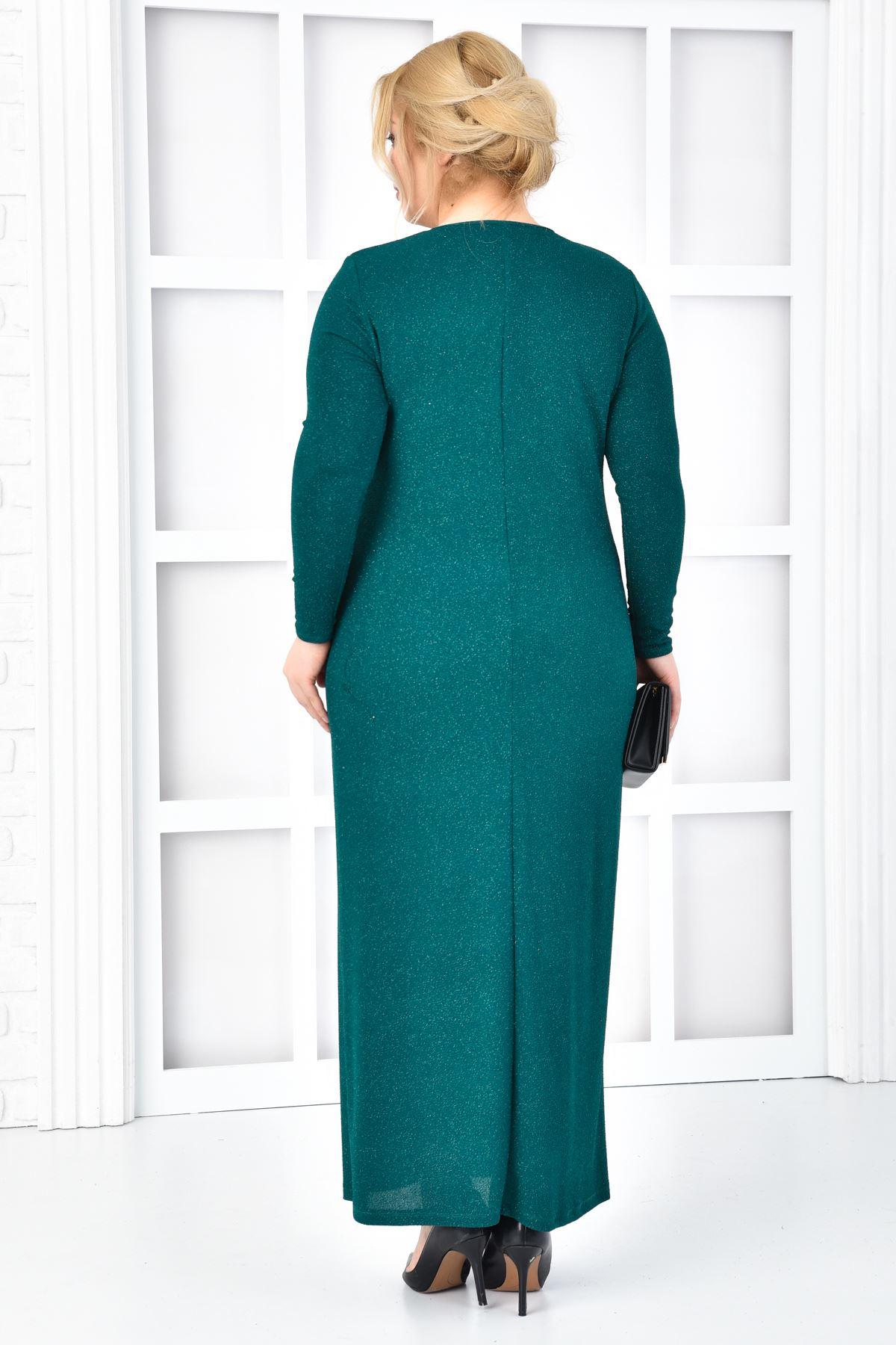 Kadın Yeşil Büyük beden Abiye Uzun Pırıltılı