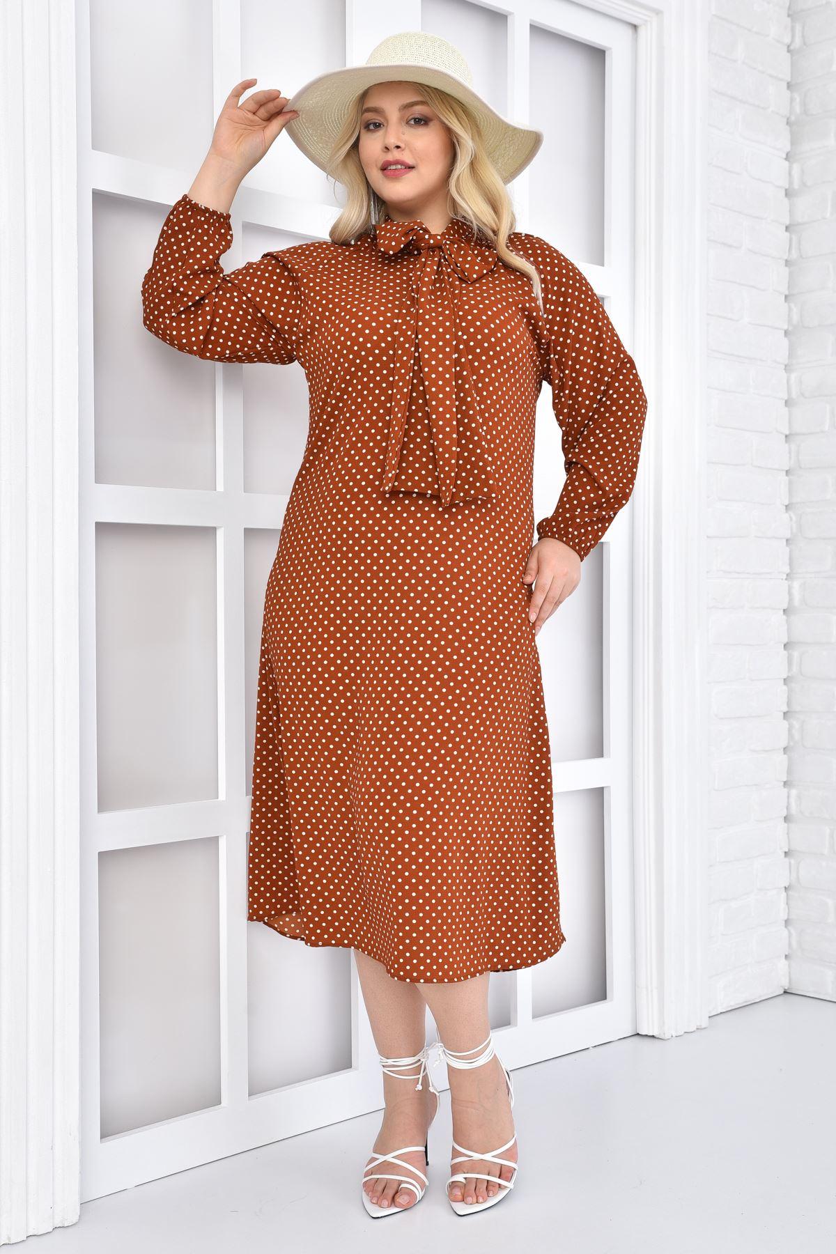 Kadın Kiremit Büyük Beden Elbise Puantiye Kıravatlı