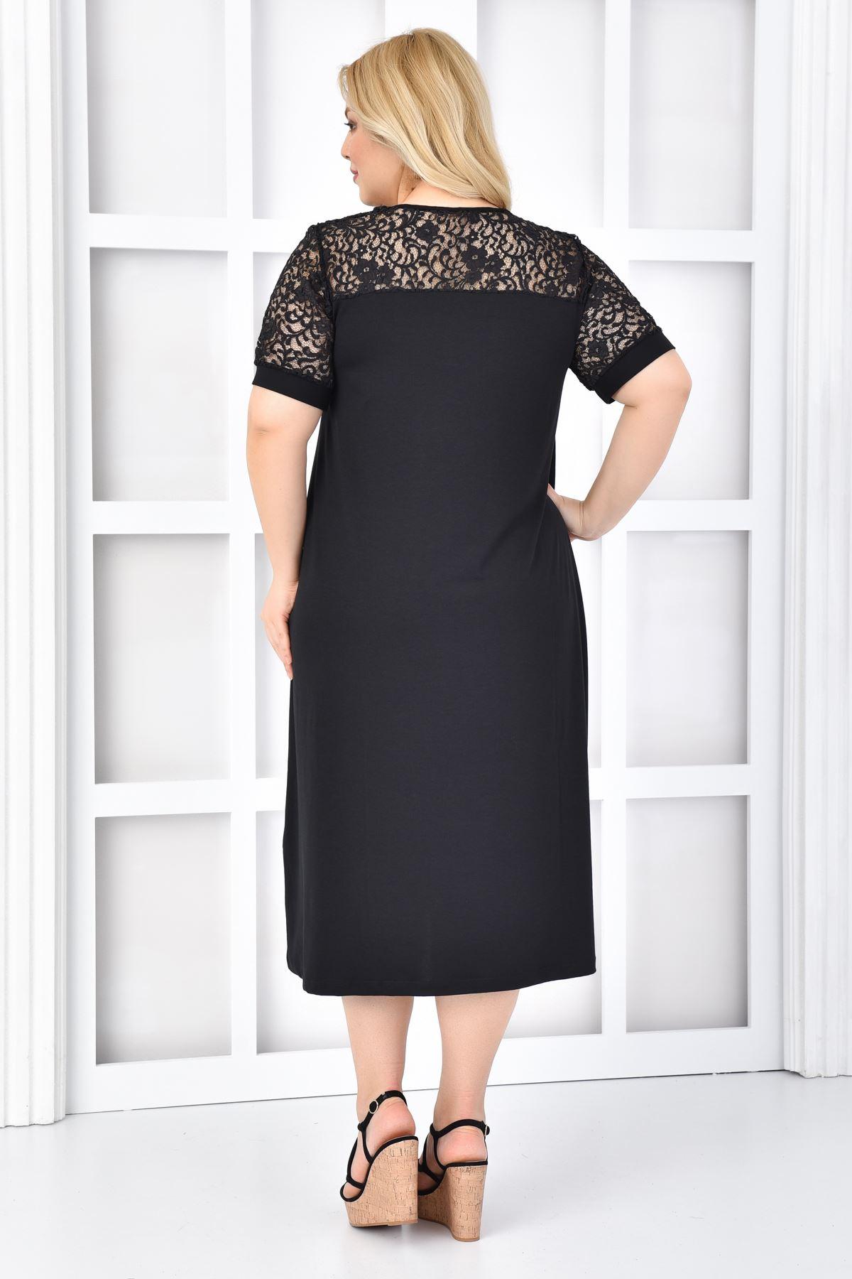 Kadın Siyah Büyük Beden Elbise Dantel