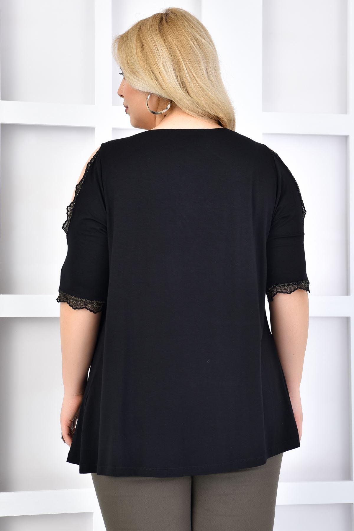 Kadın Siyah Büyük Beden Tshirt Yaka Kol Dantel