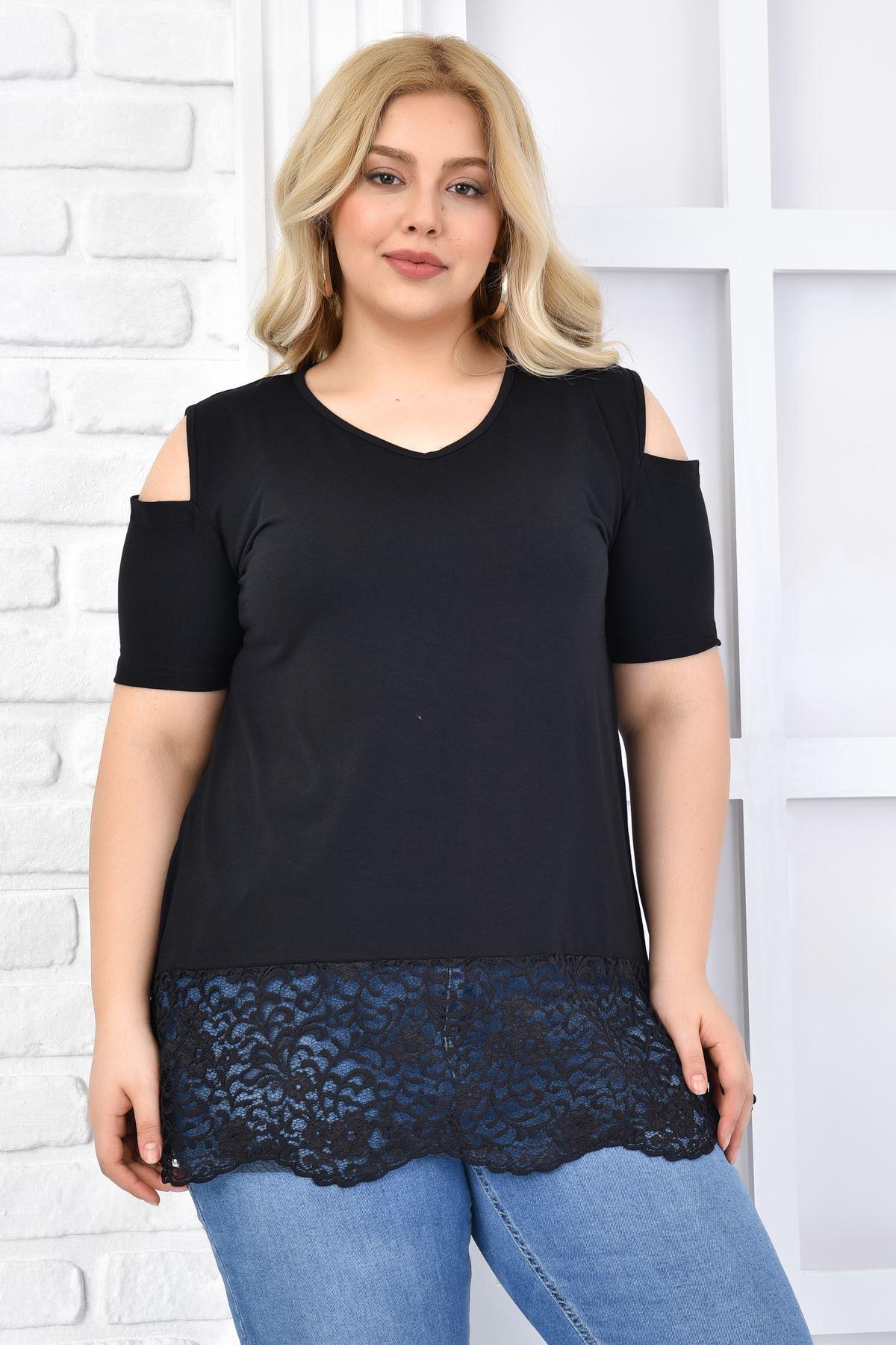 Kadın Siyah Büyük Beden Tshirt Omzu Açık