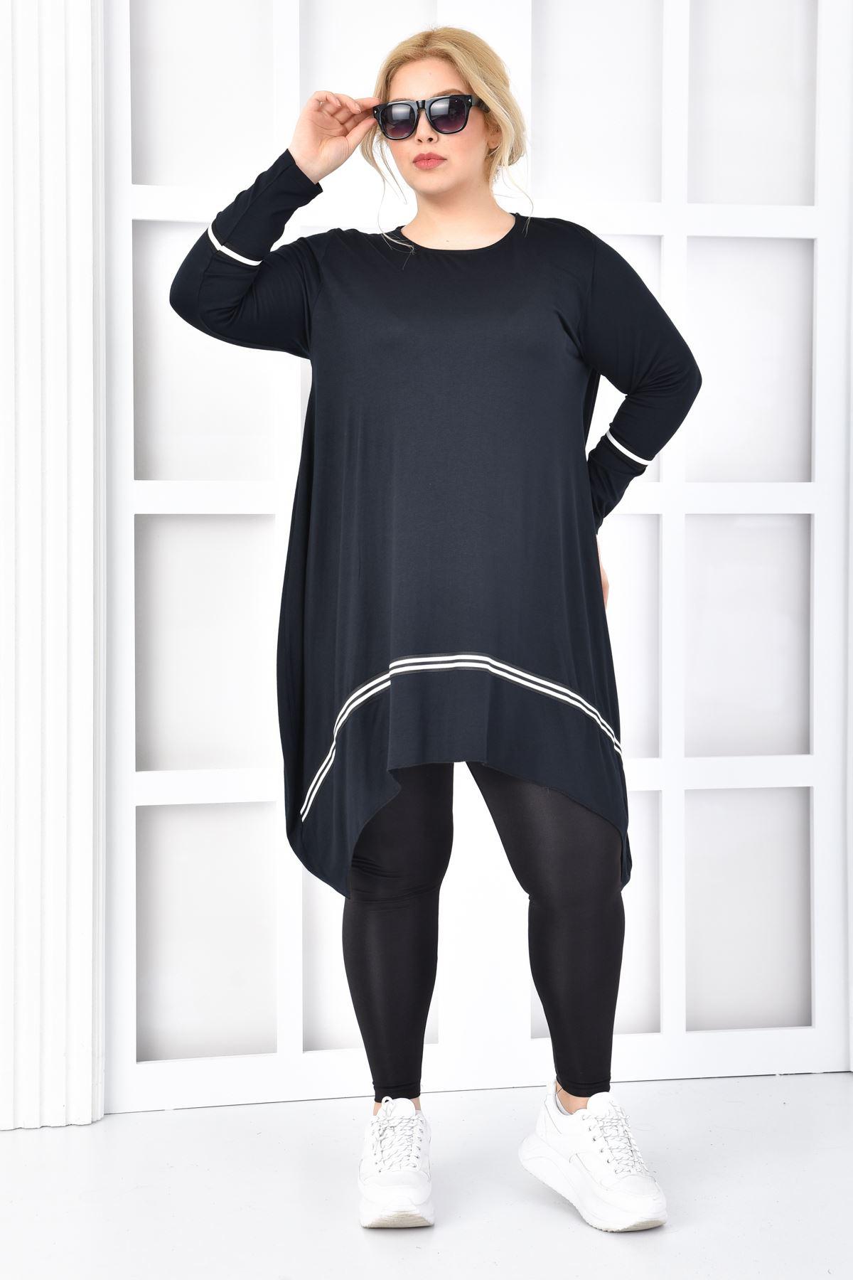 Kadın Siyah Büyük Beden Tunik Bantlı