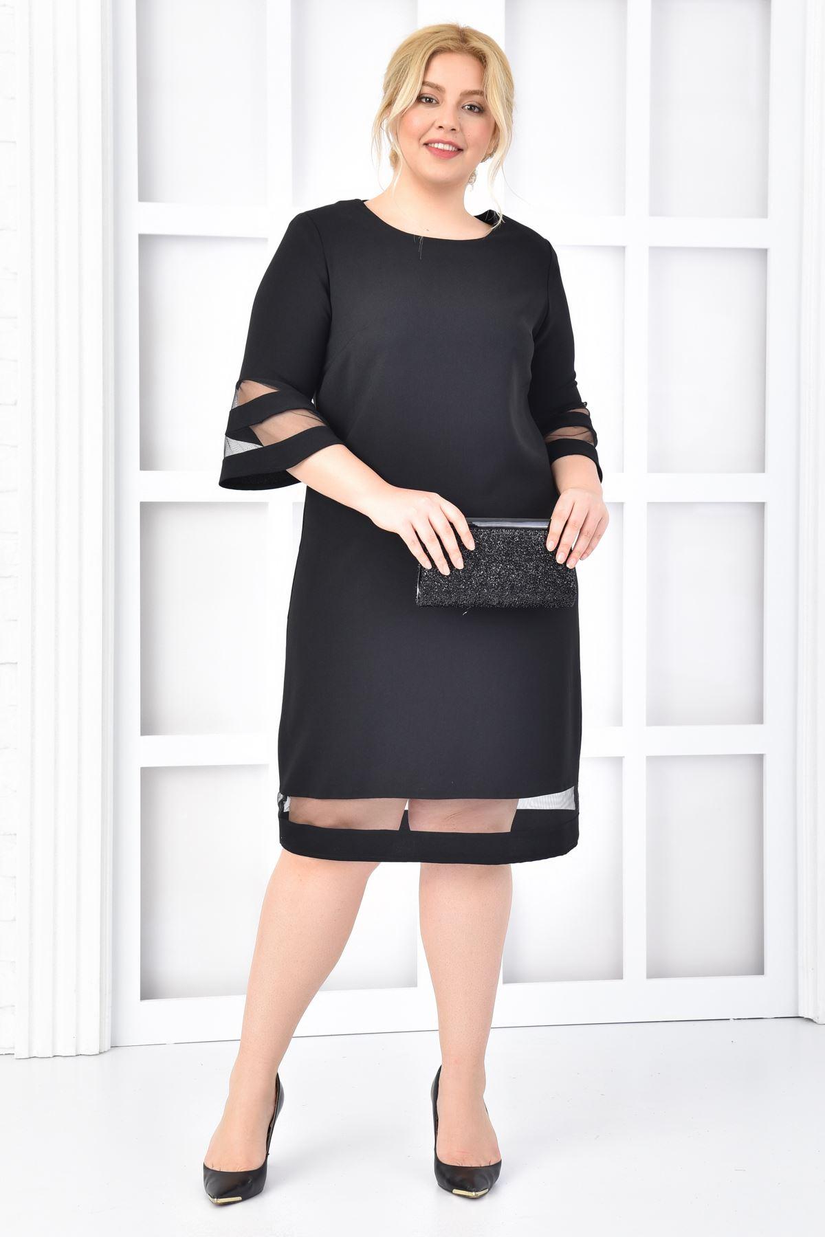 Kadın Siyah Büyük Beden Elbise Kol Etek Transparan