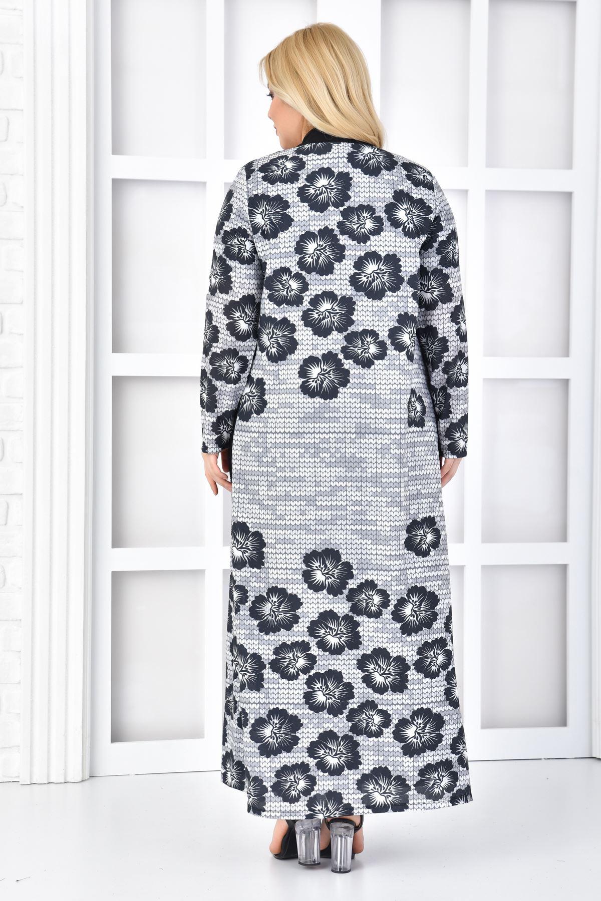 Kadın Siyah Büyük Beden Elbise 2'li Takım File