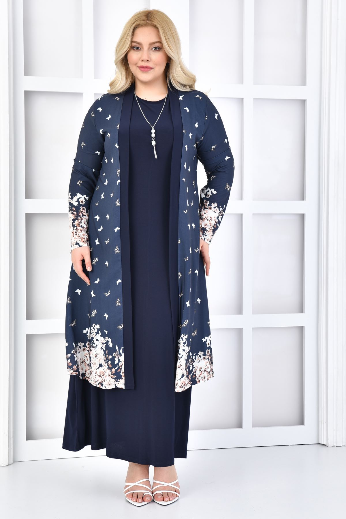 Kadın Lacivert Büyük Beden Elbise 2'li Takım Kelebek
