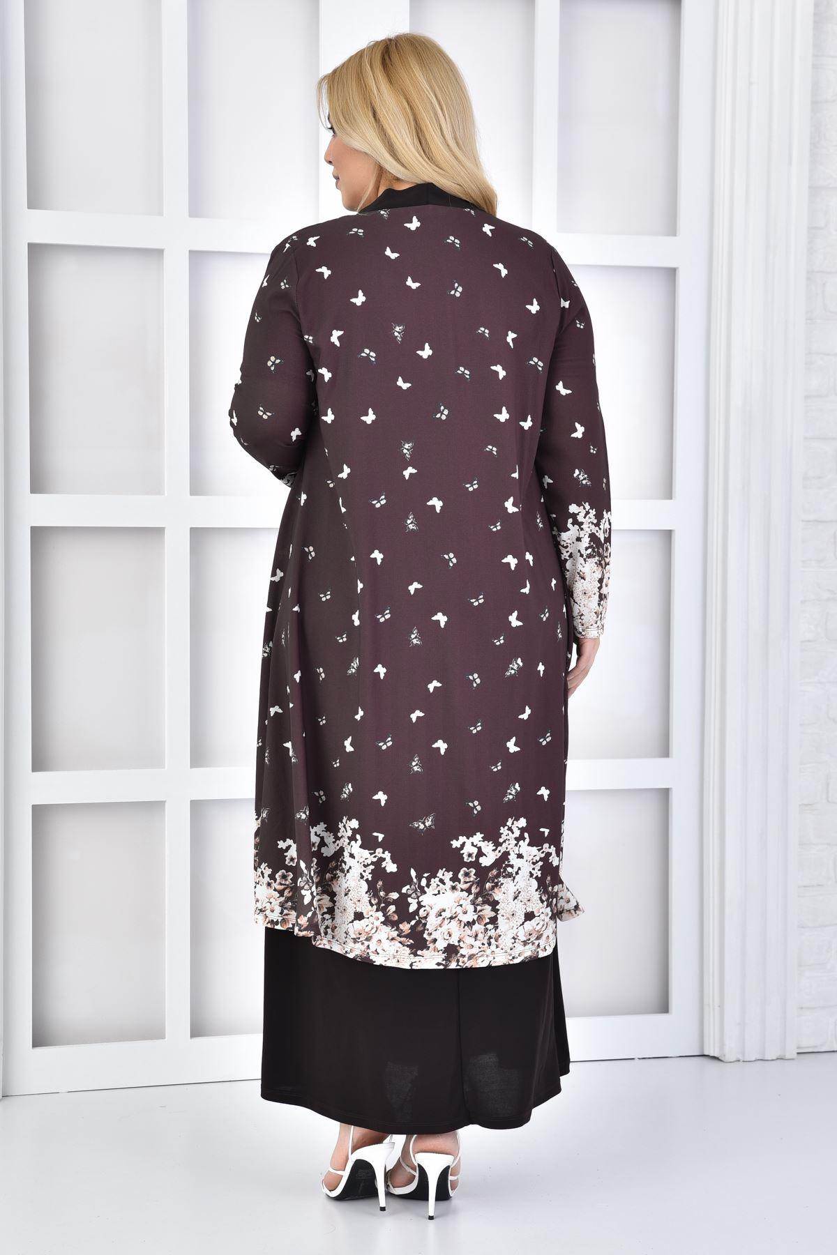 Kadın Kahve Büyük Beden Elbise 2'li Takım