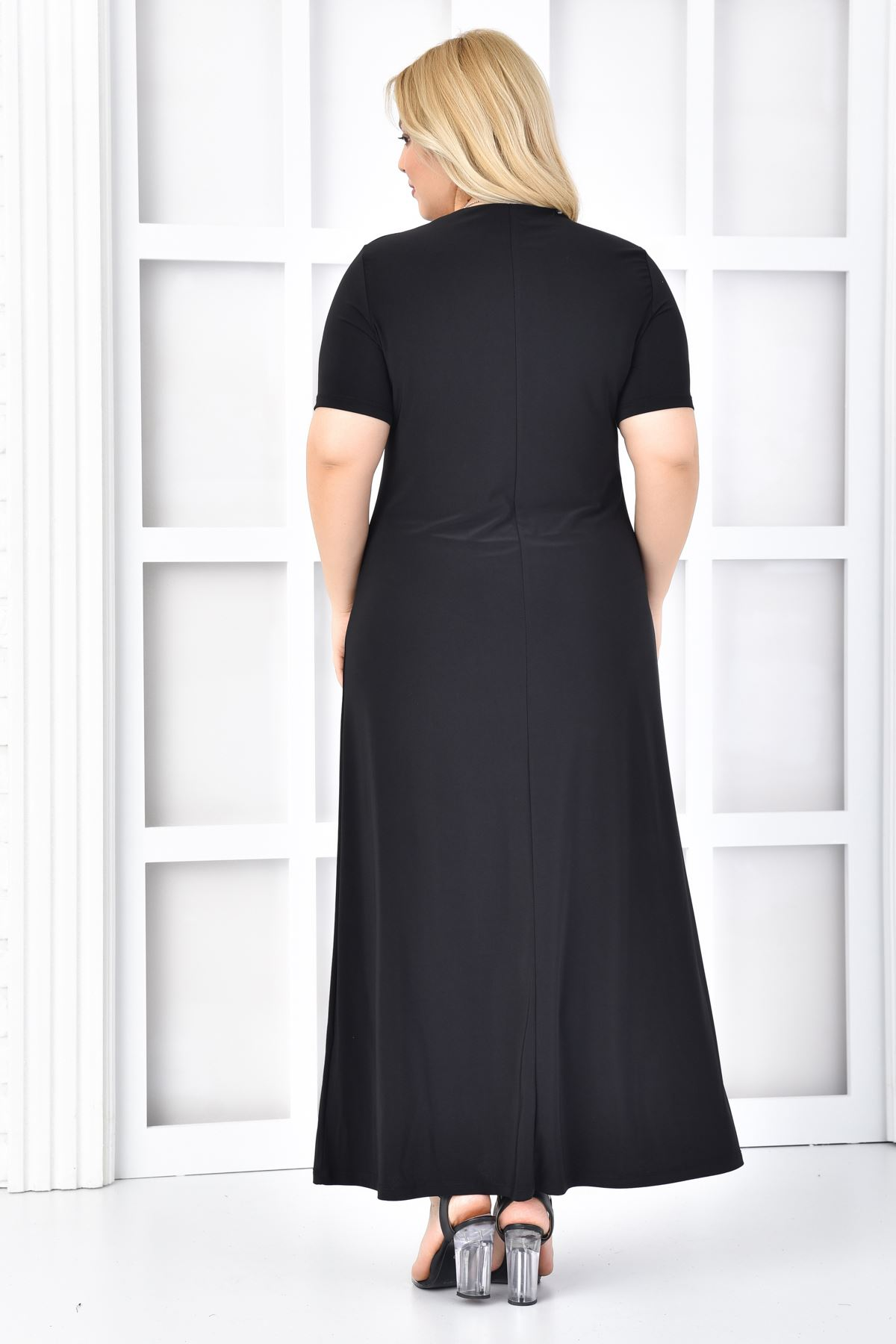 Kadın Siyah Büyük Beden Elbise 2'li Takım Kelebek Desen