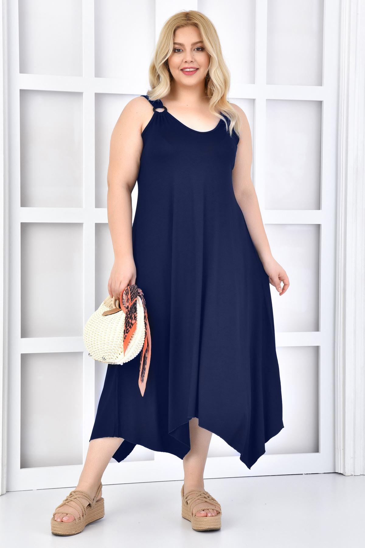 Kadın Lacivert Büyük Beden Askılı Elbise Tokalı