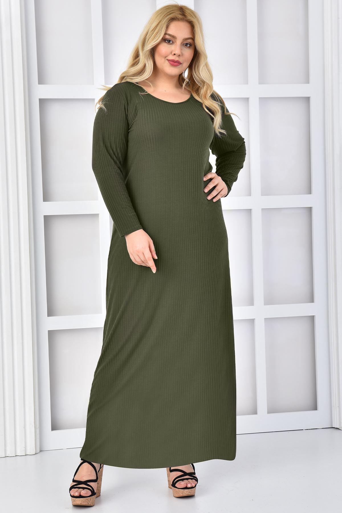 Kadın Haki Büyük Beden Elbise Takım Yelekli
