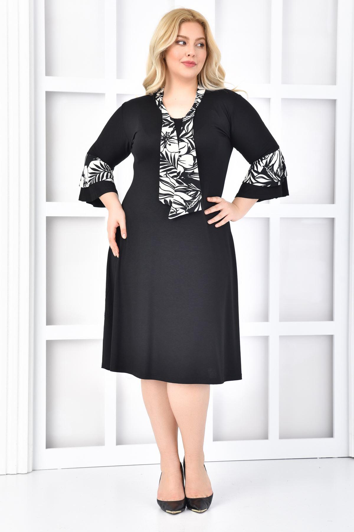 Kadın Siyah Büyük Beden Elbise Kıravatlı