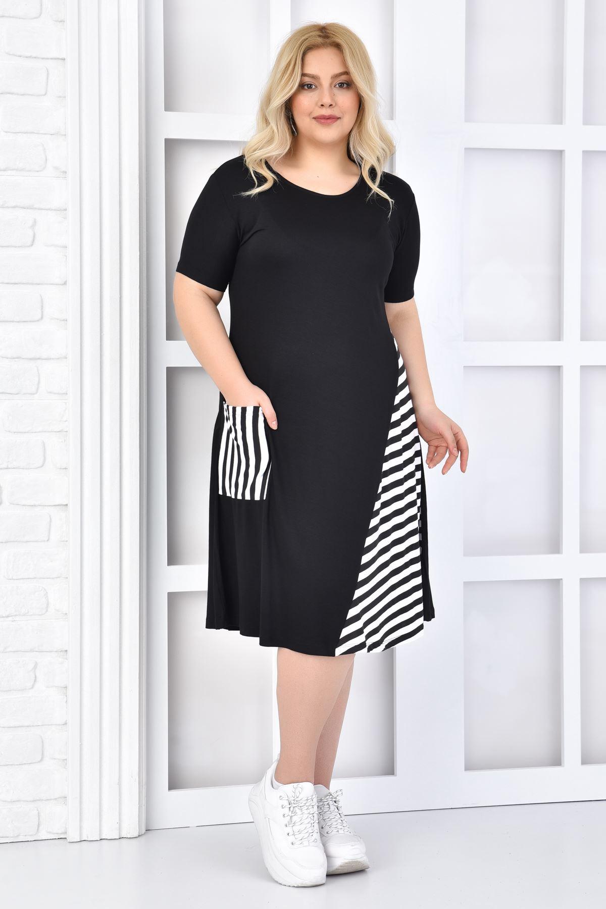 Kadın Siyah Büyük Beden Elbise Çizgili