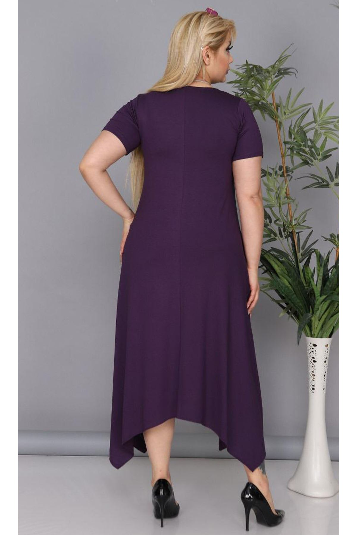 Kadın Mürdüm Büyük Beden Elbise Üçgen Etek