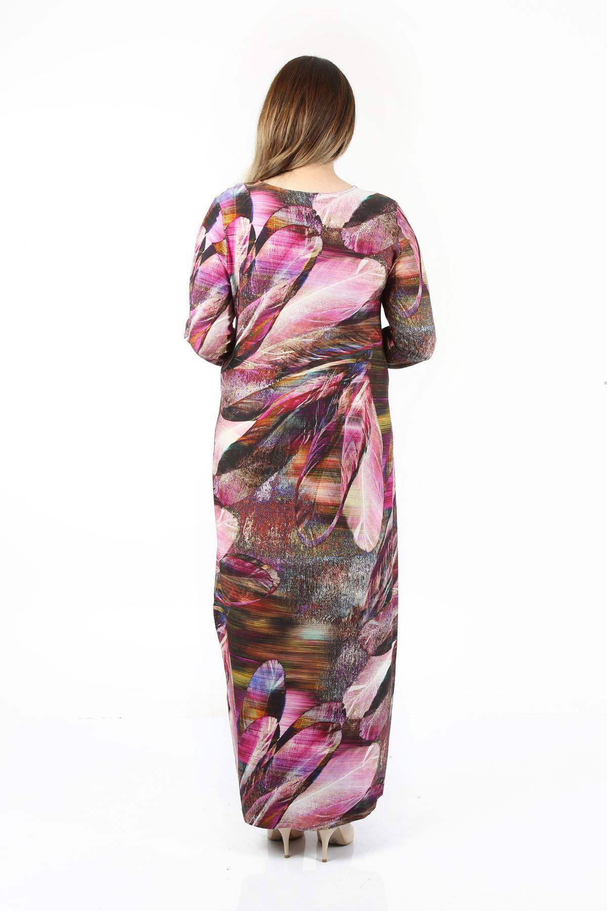 Kadın Fuşya Büyük Beden Elbise