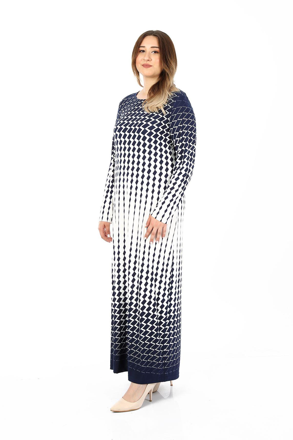 Kadın Lacivert Büyük Beden Elbise