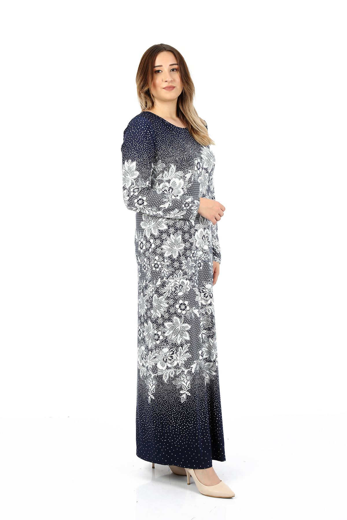 Kadın Lacivert Büyük Beden Elbise Çiçekli