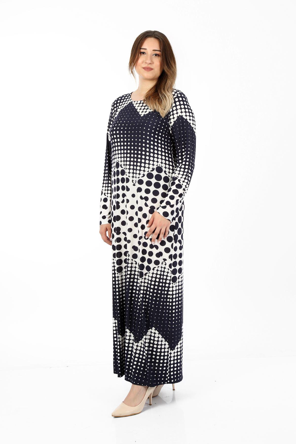 Kadın Lacivert Büyük Beden Elbise Puanlı