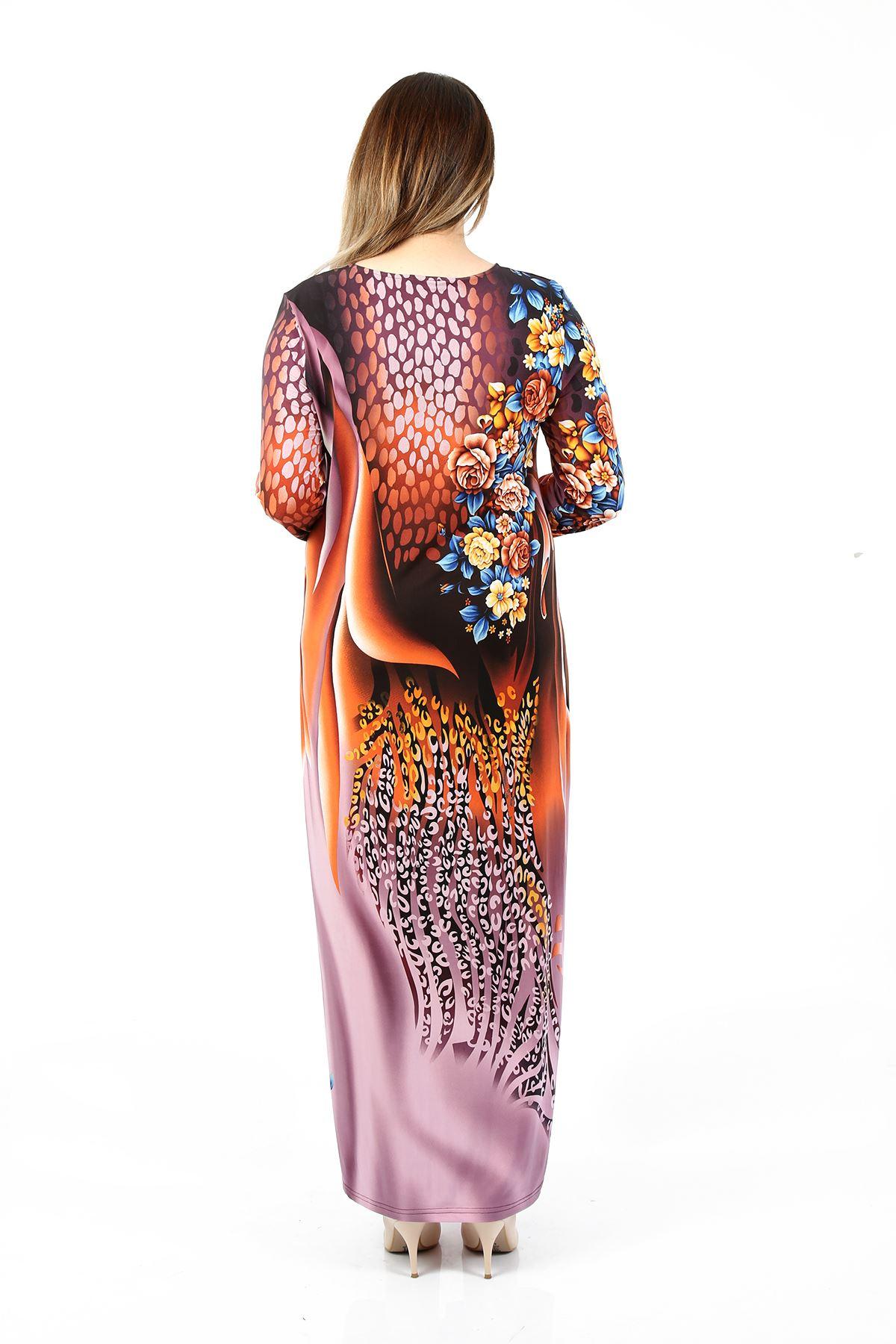 Kadın Lila Büyük Beden Elbise Çiçekli