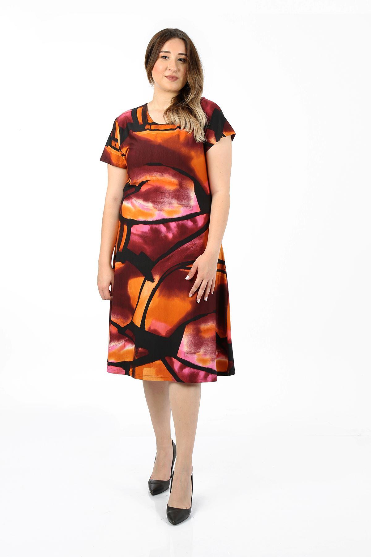 Kadın Hardal Büyük Beden Elbise