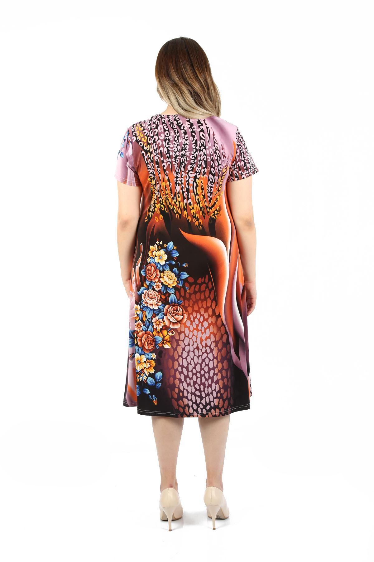 Kadın Lila Büyük Beden Elbise