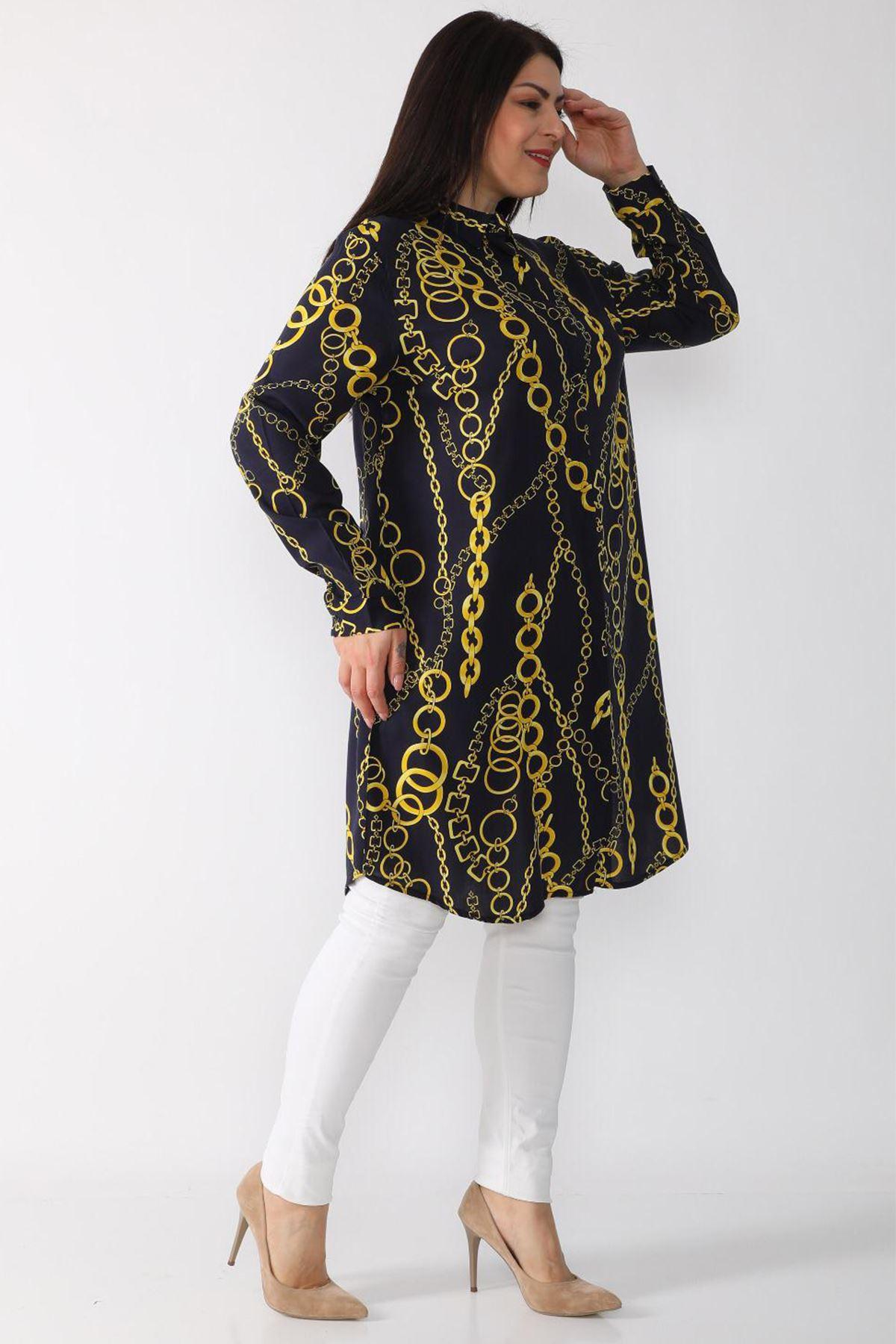 Kadın Siyah Büyük Beden Tunik Gömlek Zincir