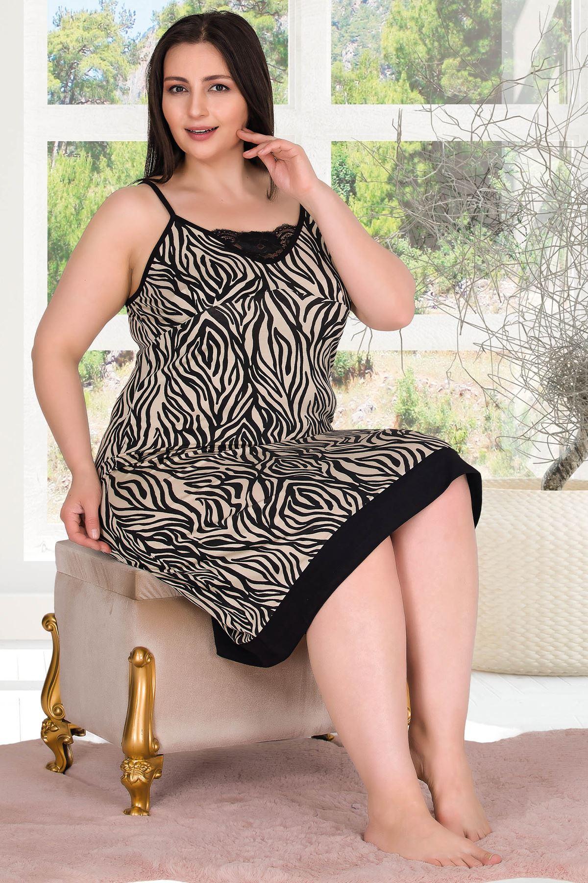 Kadın Siyah Büyük Beden Gecelik Dantel Zebra Desen