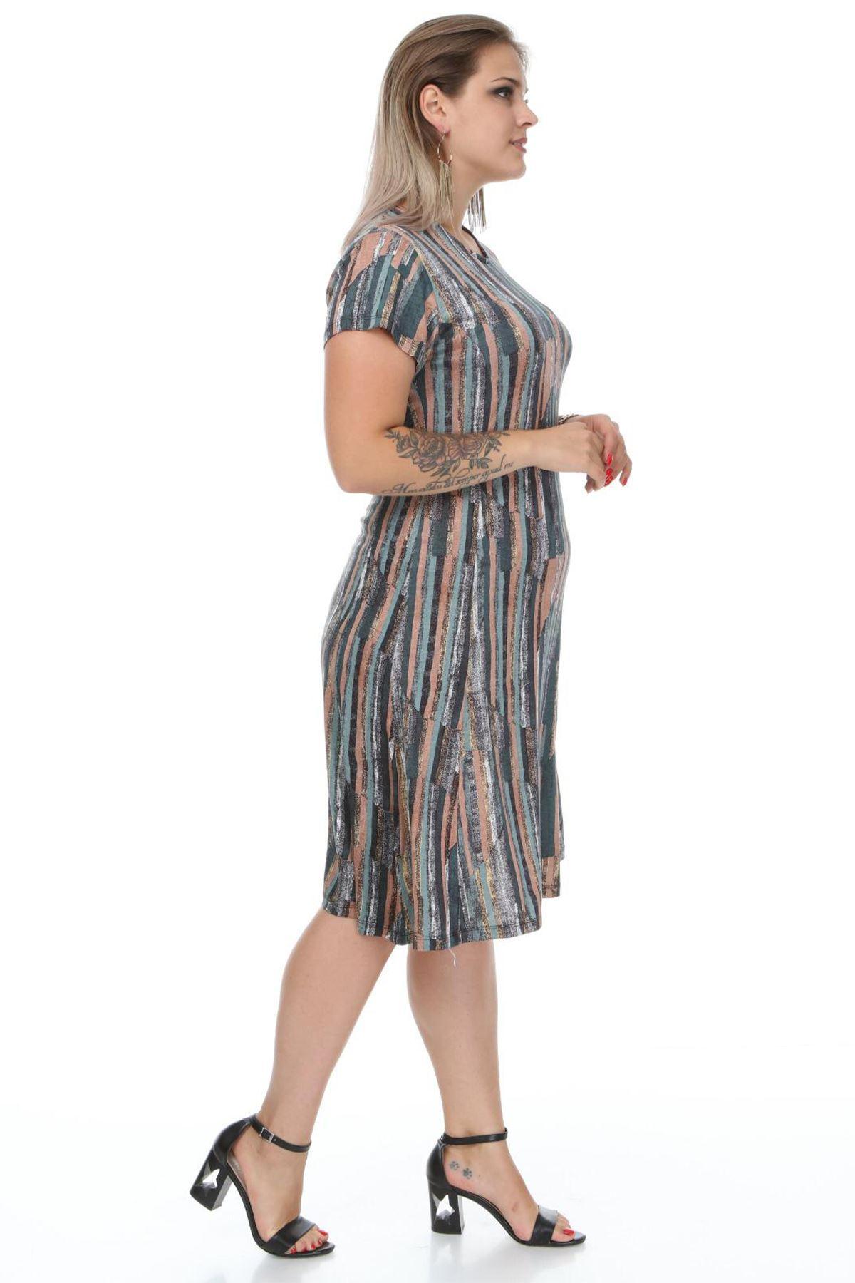 Kadın Haki Büyük Beden Elbise Çizgili