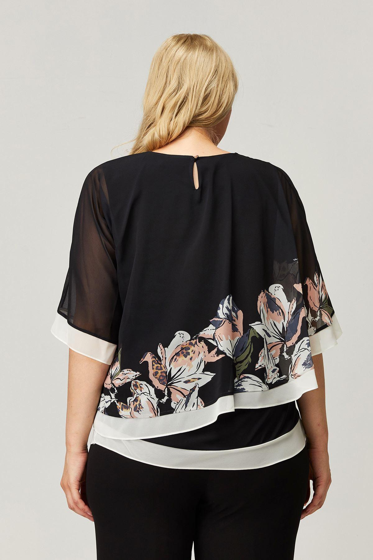 Kadın Siyah Büyük Beden Bluz Çiçekli