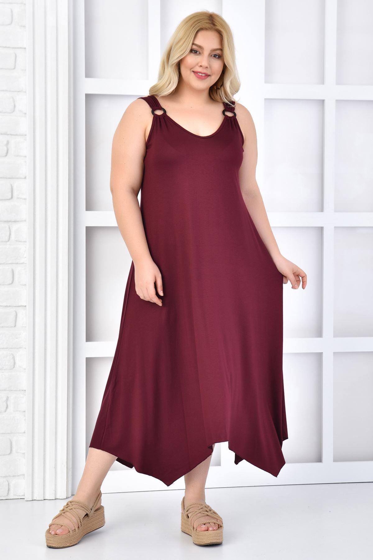 Kadın Bordo Büyük Beden Askılı Elbise
