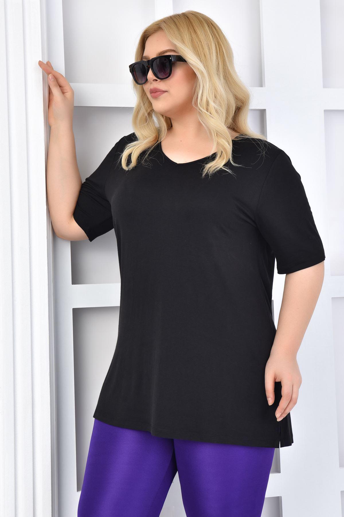 Fupe Büyük Beden Tshirt V Yaka Siyah Kadın Düz Desen