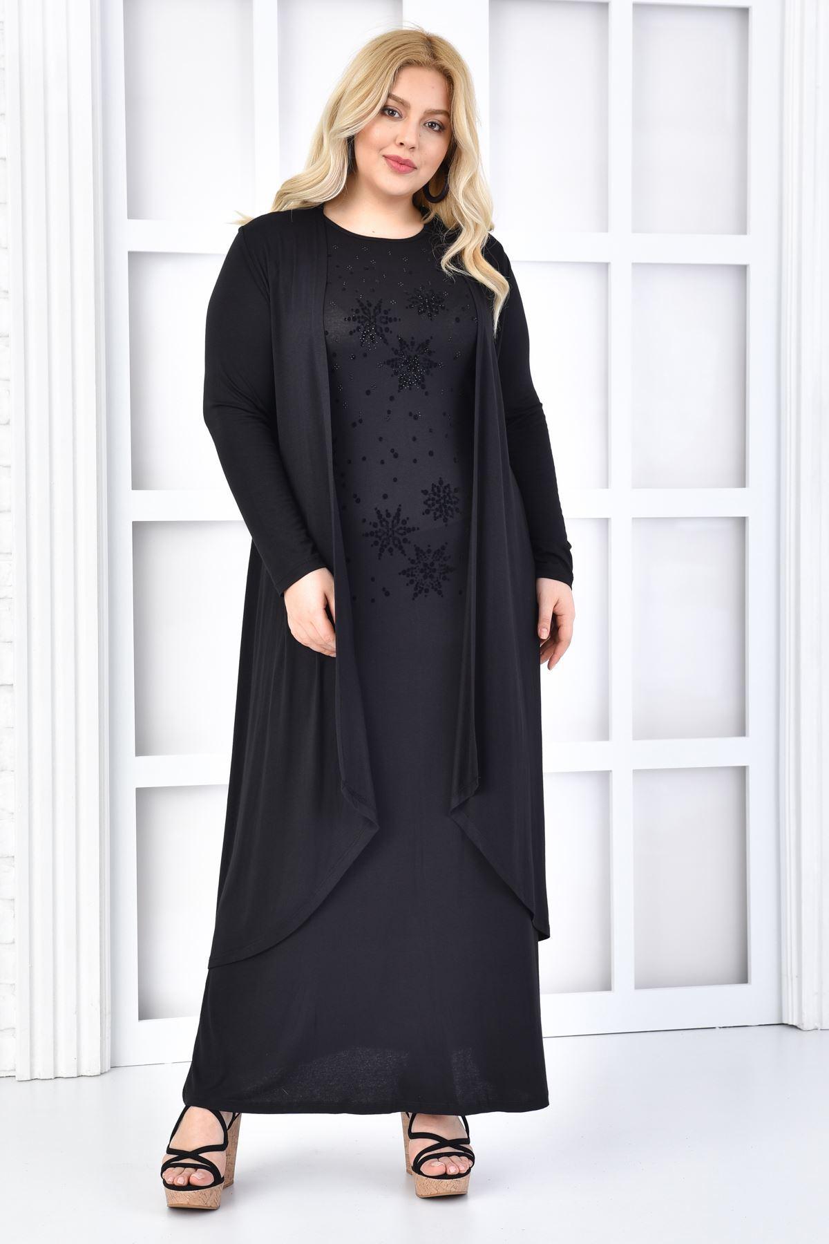 Kadın Siyah Büyük Beden Elbise Takım