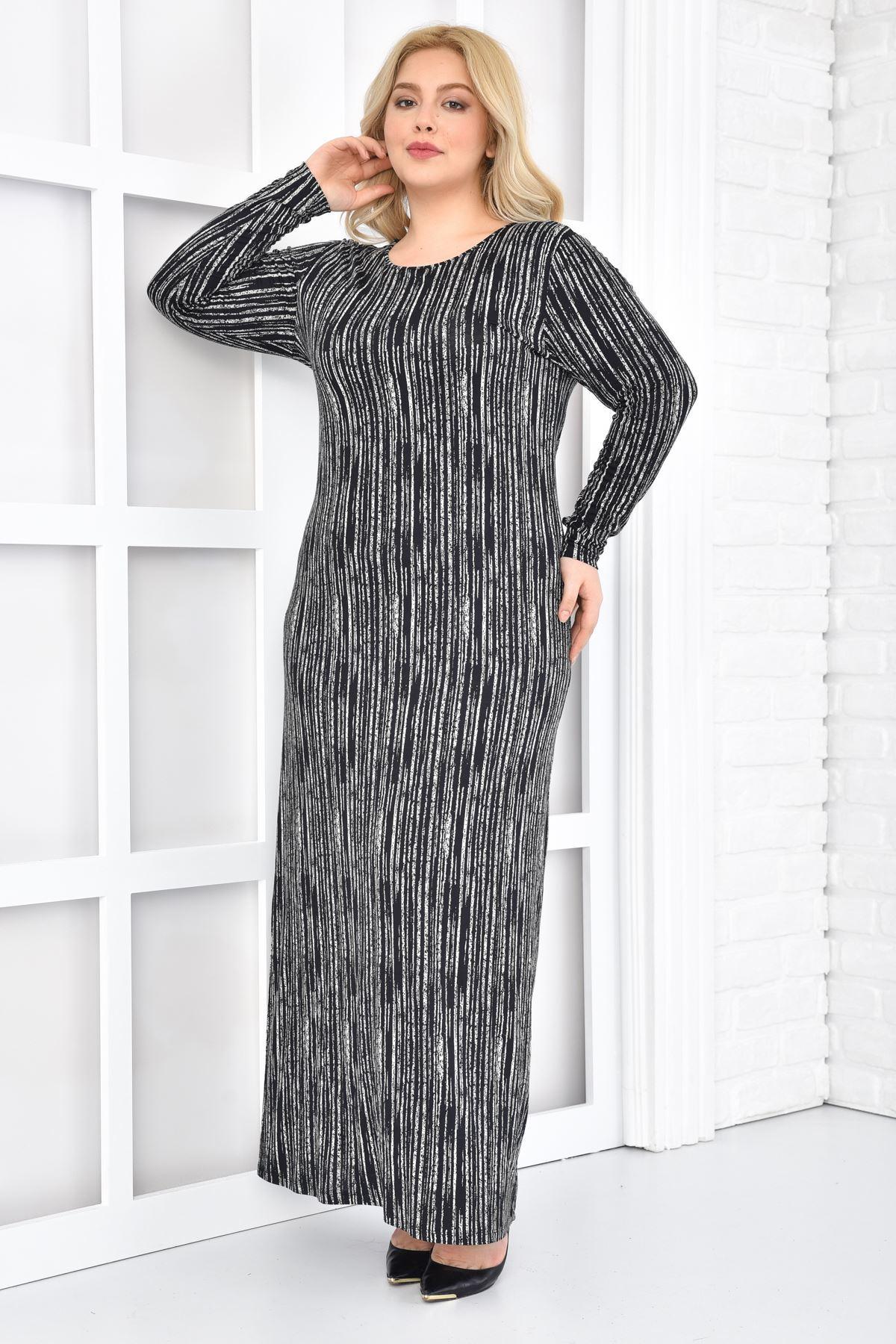 Fupe Büyük Beden Uzun Elbise Siyah Kadın Çizgili Desen