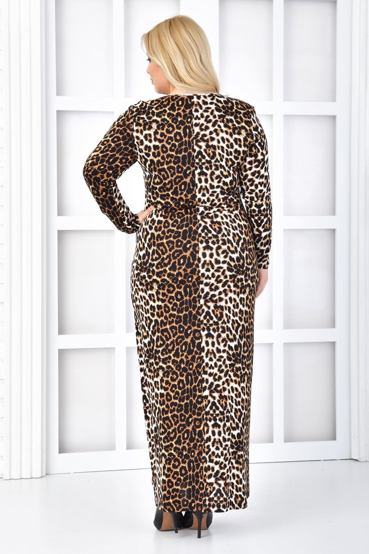 Fupe Büyük Beden Uzun Elbise Siyah Kadın Leopar Desen