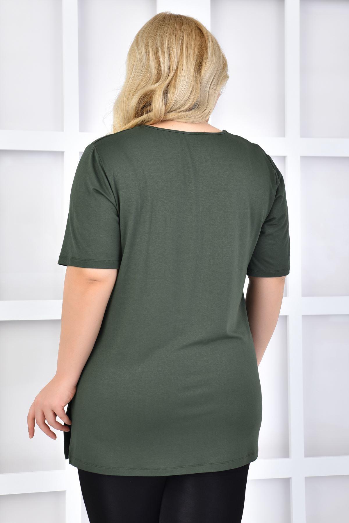 Fupe Büyük Beden Tshirt V Yaka Haki Kadın Düz Desen