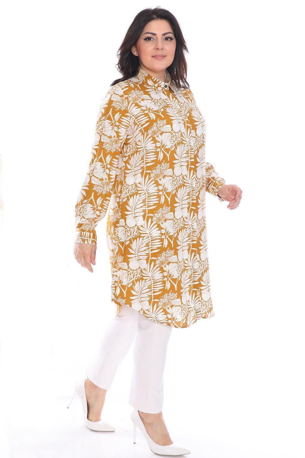 Fupe Büyük Beden Tunik Gömlek Hardal Düğmeli Kadın Çiçekli Desen