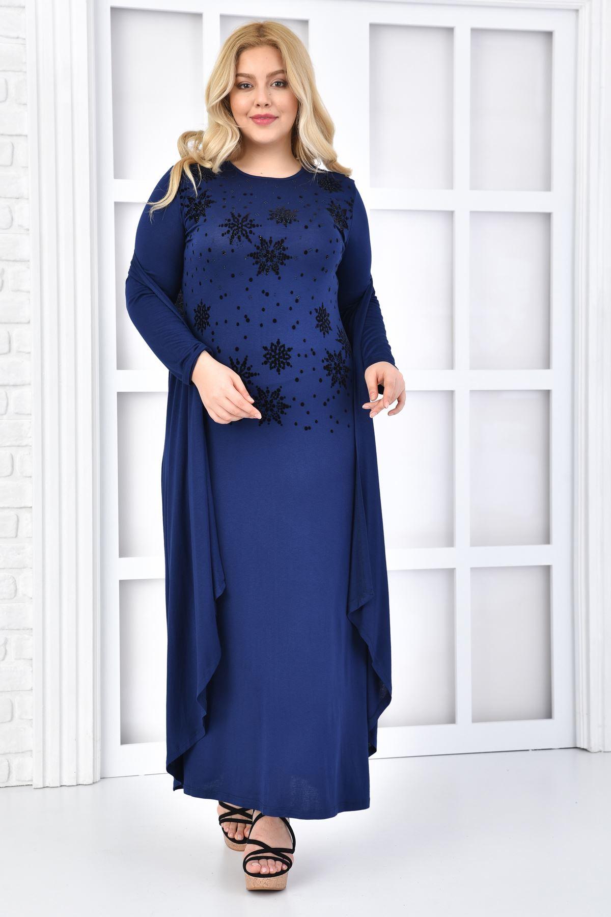 Fupe Büyük Beden Elbise İkili Takım Kadın Siyah Düz Desen