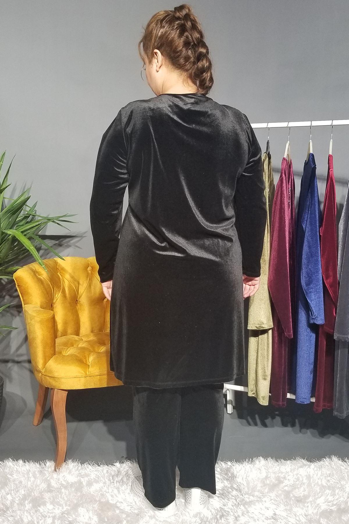 Fupe Büyük Beden Eşofman Takım Kadın Siyah Kadife Desen