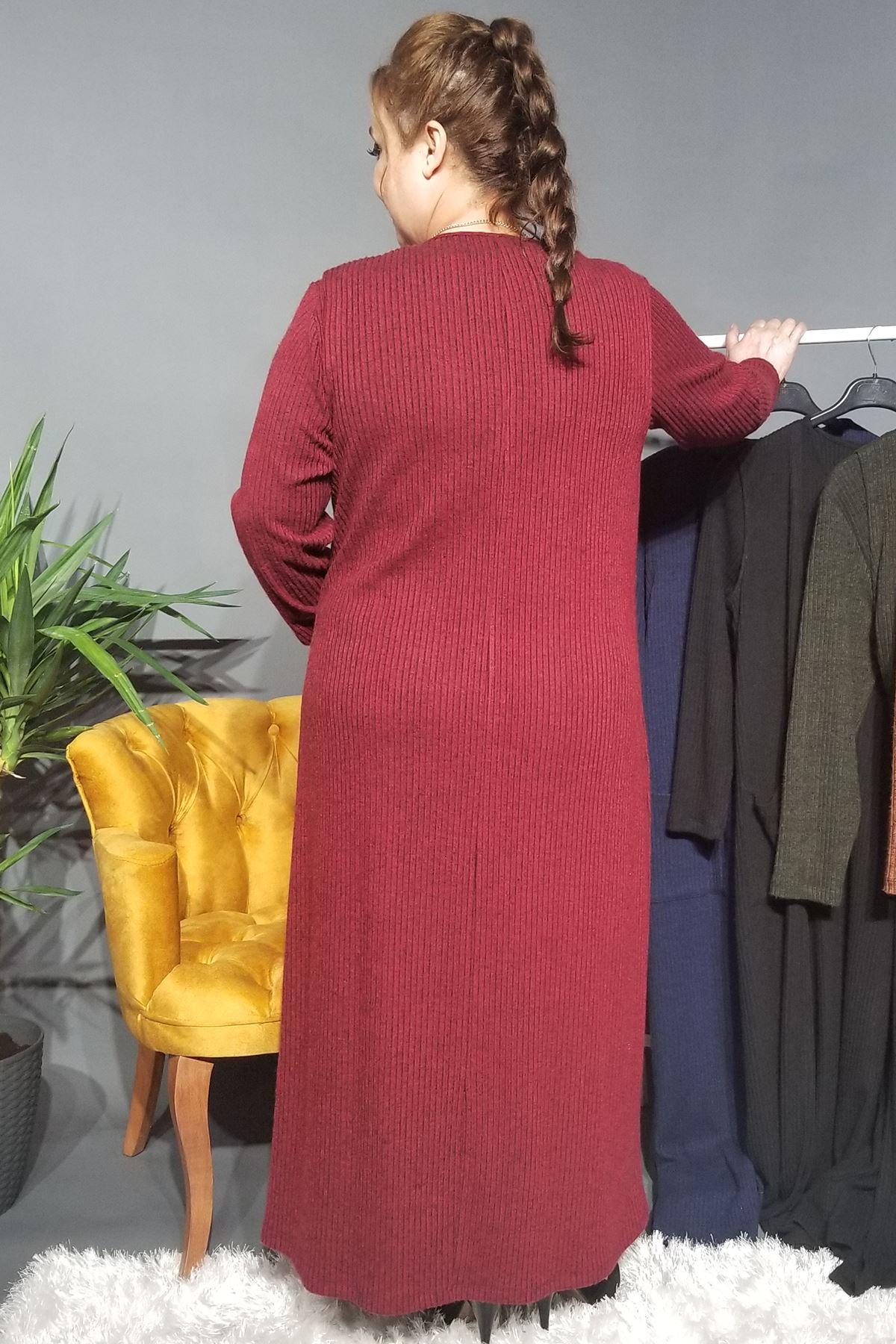 Fupe Büyük Beden Elbise Takım Kadın Bordo Triko Desen