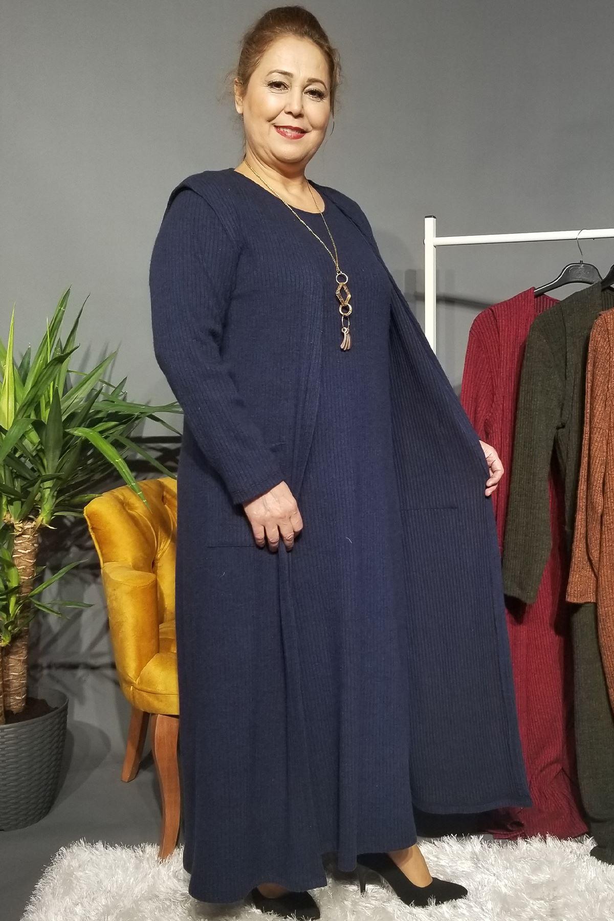 Fupe Büyük Beden Elbise Takım Kadın Lacivert Triko Desen