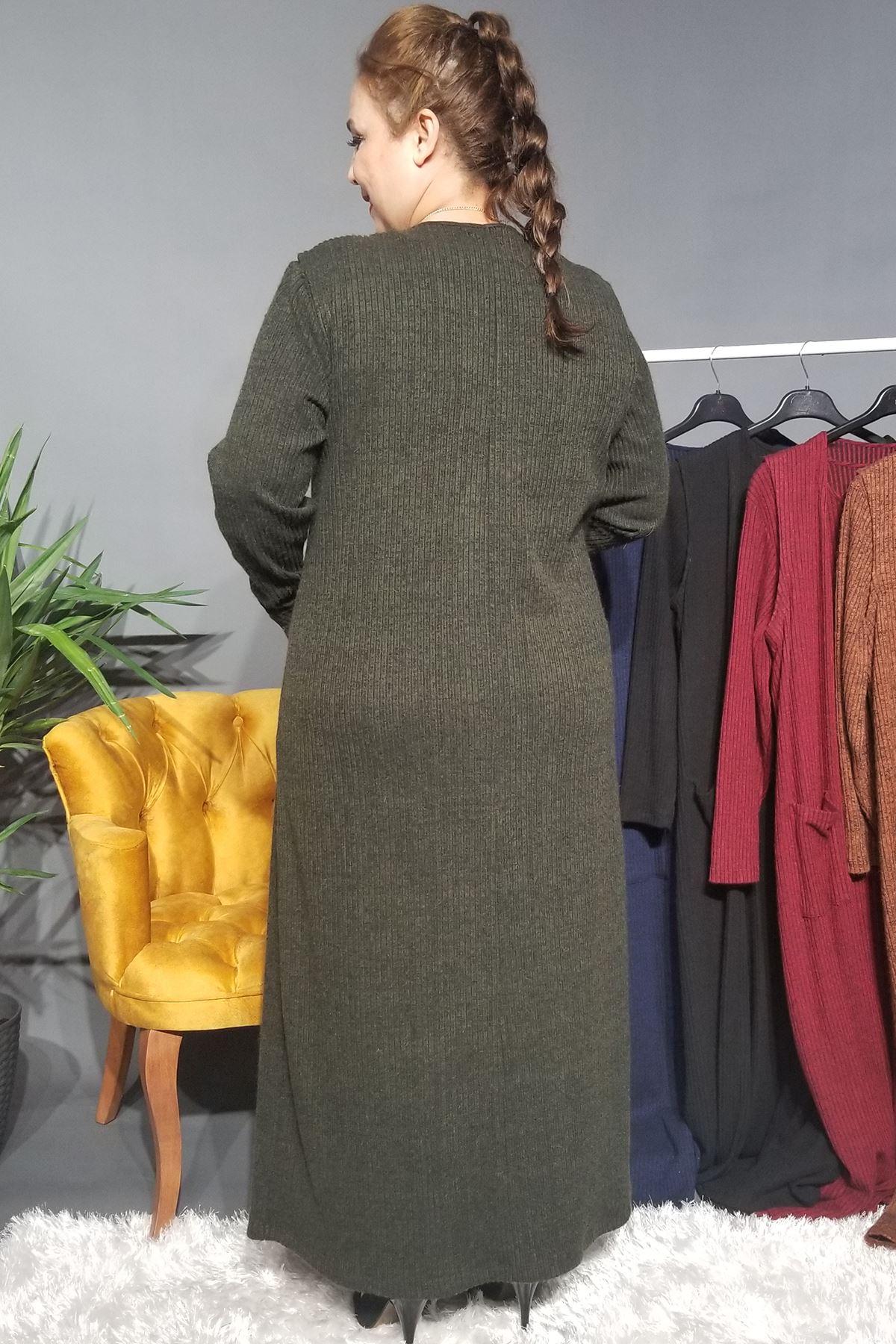Fupe Büyük Beden Elbise Takım Kadın Haki Triko Desen