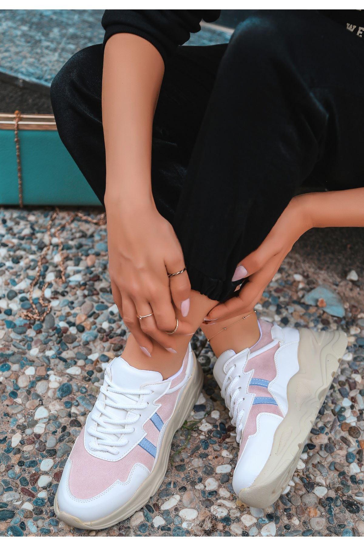 Atil Krem Cilt Pudra Detaylı Spor Ayakkabı