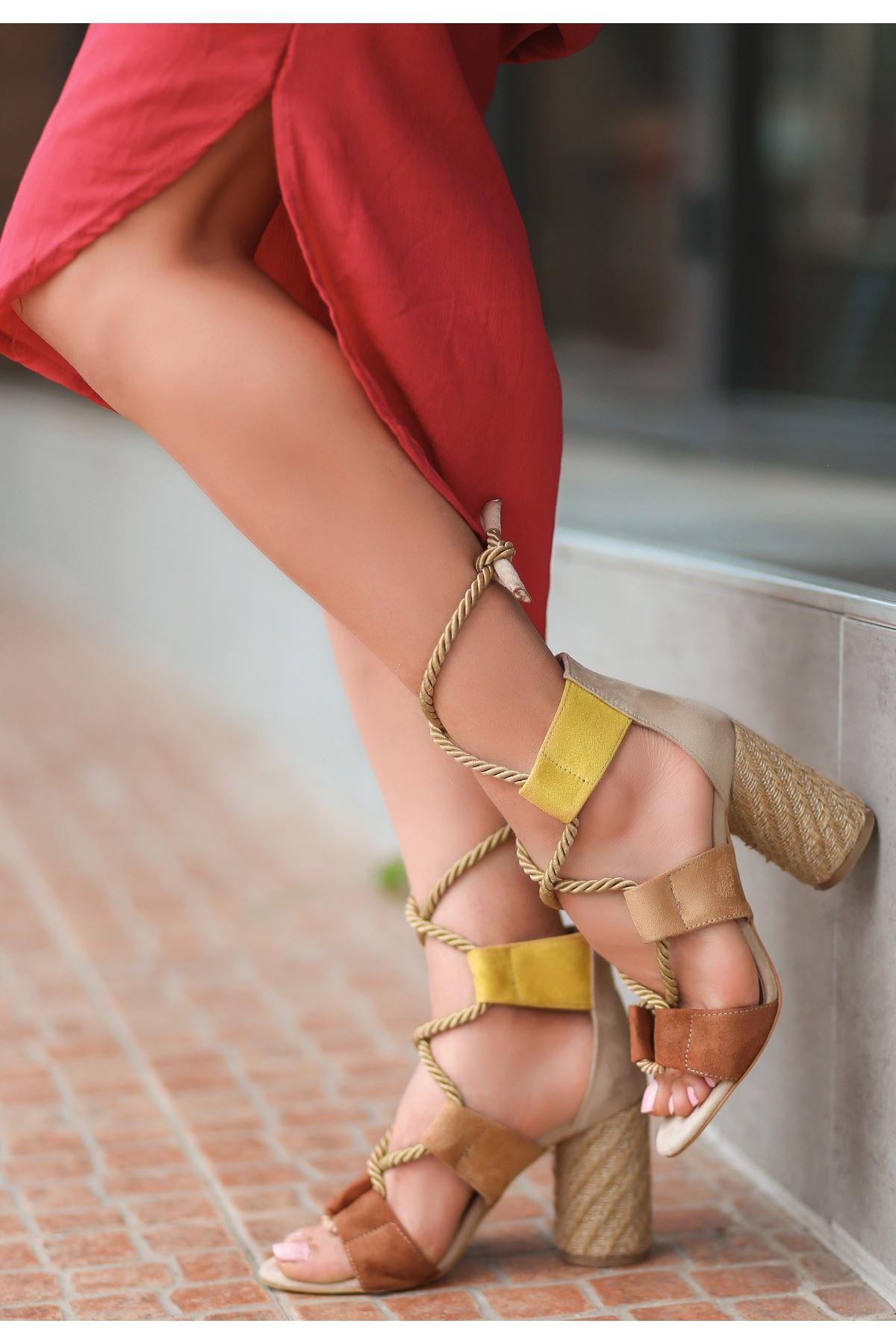 Esto Taba Süet Renkli Topuklu Ayakkabı