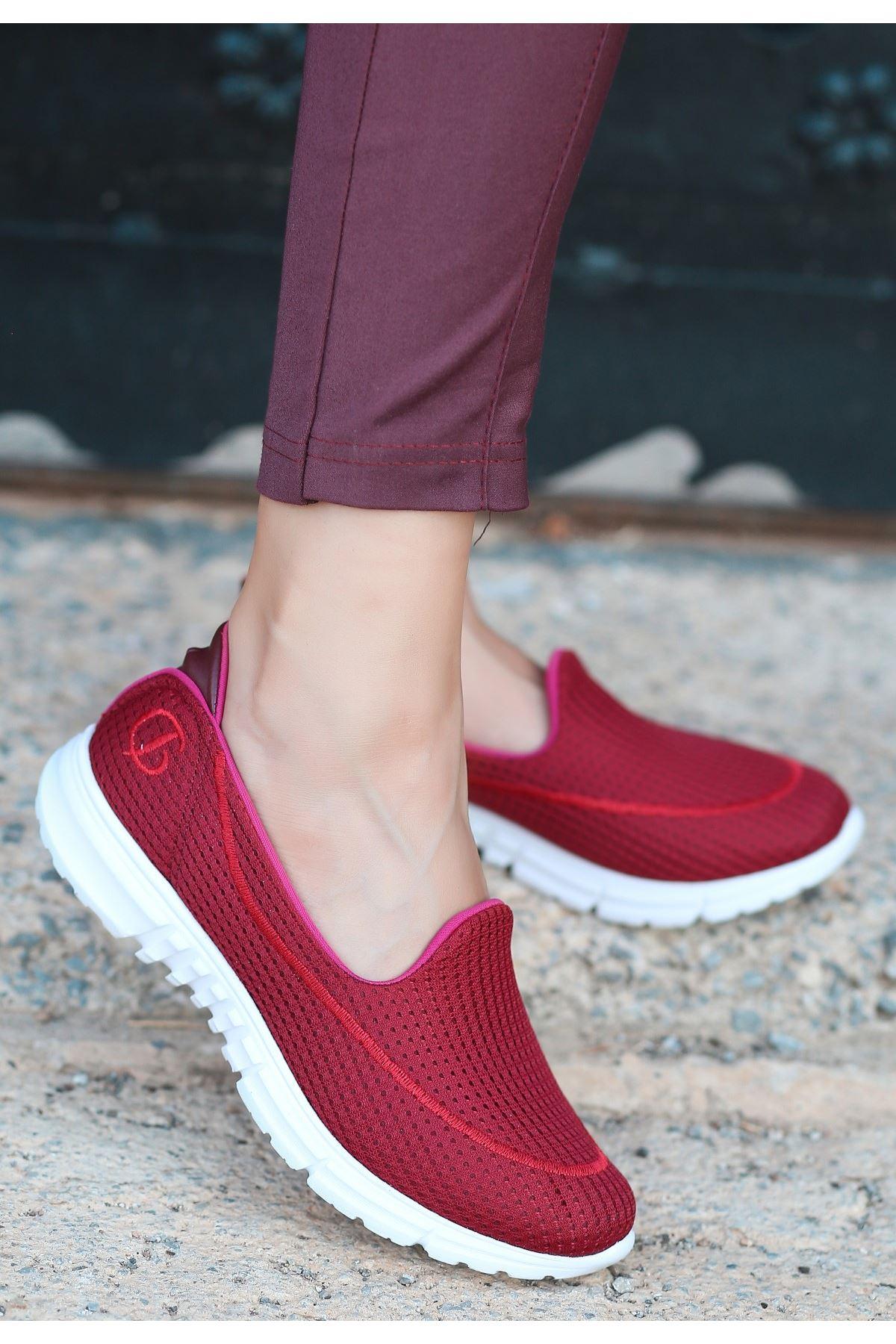 Enox Bordo Streç  Babet Ayakkabı