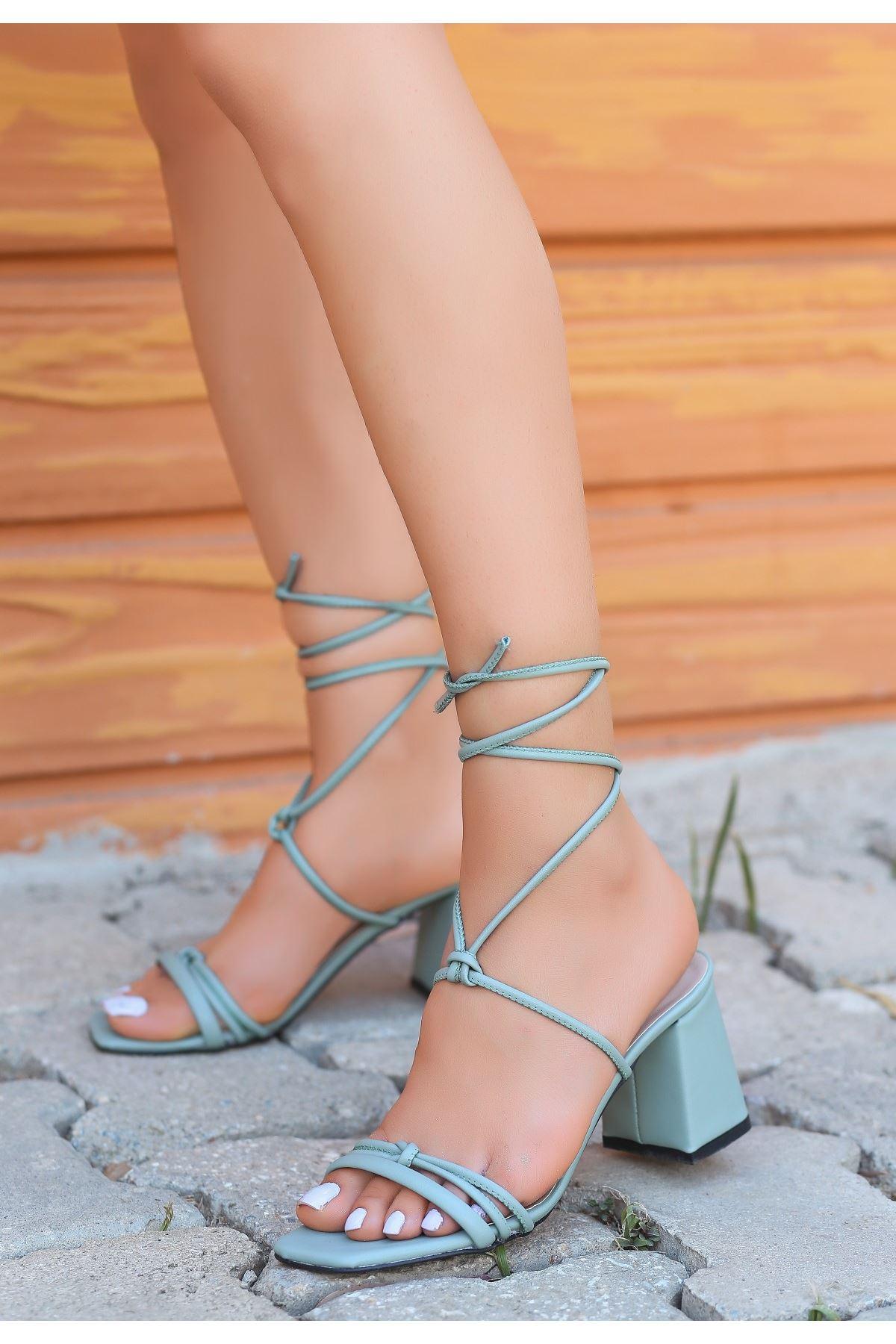 Jost Mint Yeşili Cilt Topuklu Ayakkabı