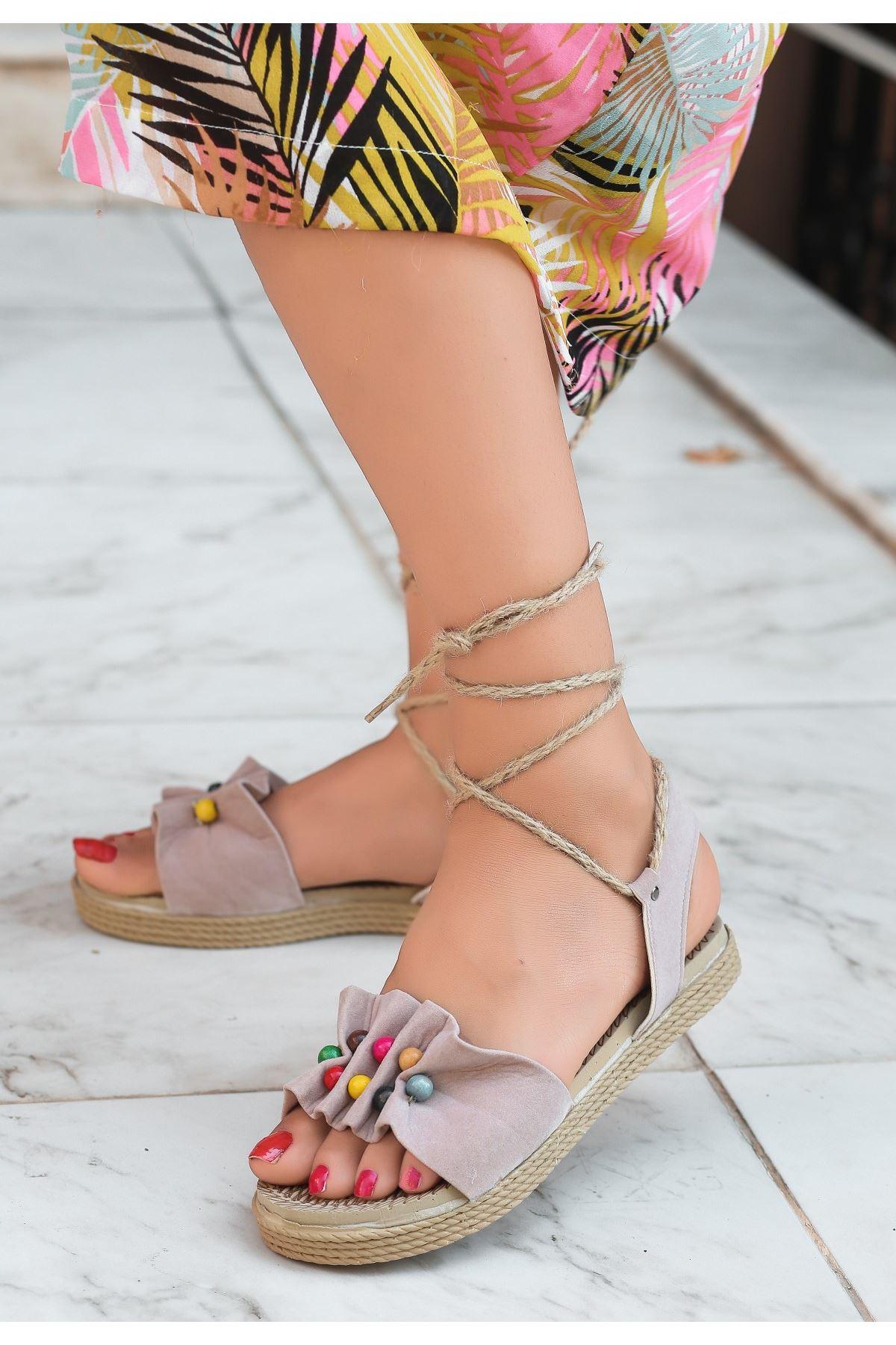 Conty Vizon Süet Bağcıklı Sandalet